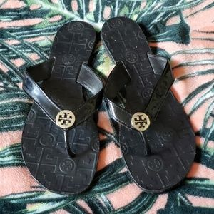 TORY BURCH Black Flip Flops Sz 9